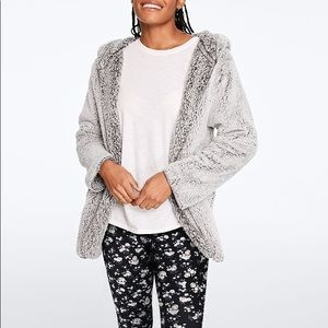 PINK by VS Clay Grey Sherpa Cardigan in M/L 🖤🤍